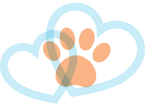 Hearts with a paw on top