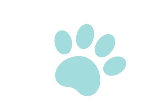 Two hearts with a paw print inside